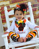 My Little Turkey outfit -- turkey bodysuit, leg warmers and Over The Top bow - Darling Little Bow Shop