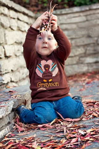 Thanksgiving Shirt for Toddler Boys -- Boy Turkey Shirt or Bodysuit -- Brown long sleeve tee with fun turkey feathers - Darling Little Bow Shop