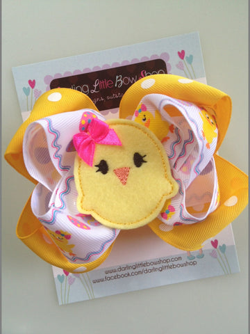 Easter Chick Bow - Easter Bow - Pretty Little Chickie - Darling Little Bow Shop
