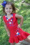4th of July dress for girls -- Bomb Pop Ruffle Dress -- Monogrammed dress -- red, white, blue and bling - Darling Little Bow Shop