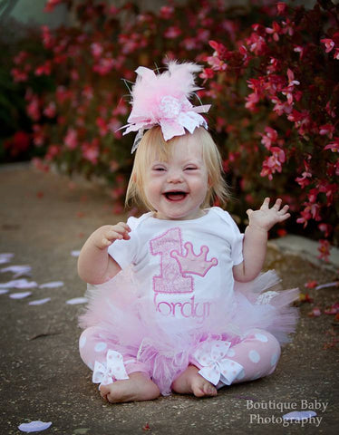 First Birthday Tutu Outfit  -- Precious Princess -- bow, leg warmers, tutu and personalized bodysuit in soft, lacy pink and white - Darling Little Bow Shop