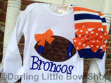 Baby Girl Football oufit -- Football Princess bodysuit or shirt and leg warmers - Darling Little Bow Shop