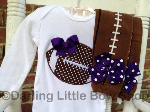 Baby Girl Football outfit -- Football Princess -- polka dot football bodysuit and leg warmers - CHOOSE colors to match YOUR TEAM - Darling Little Bow Shop