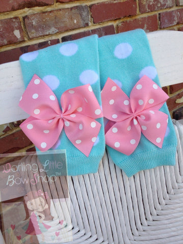 Aqua Polka Dot Leg Warmers, baby girl leg warmers in aqua polka dot with pink bows - Darling Little Bow Shop