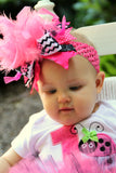 First Birthday Outfit  -- Little Lady - Hot Pink, lime green and black ladybug set - bow, leg warmers and personalized bodysuit - Darling Little Bow Shop