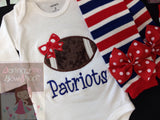 Baby Girl Football outfit - Football Princess bodysuit and leg warmers - Darling Little Bow Shop