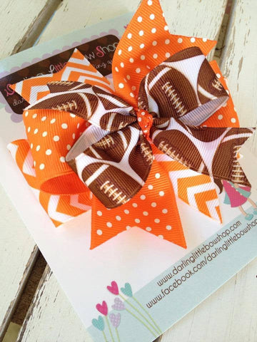 Football Team bow with optional headband, choose your team colors - Darling Little Bow Shop