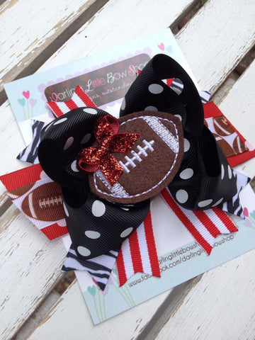 Football Team bow with optional headband -- choose your team colors -- large bow in polka dots and stripes with team colors - Darling Little Bow Shop
