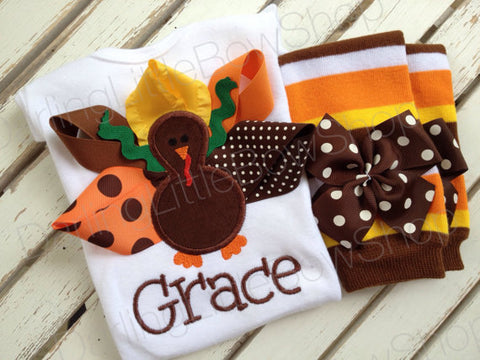 Baby Girl Thanksgiving Outfit -- Pretty Little Turkey -- bodysuit and leg warmers - personalized and great for Thanksgiving - Darling Little Bow Shop