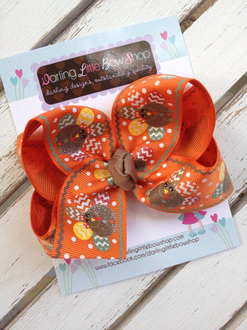 Glitter turkey hairbow for Thanksgiving - Darling Little Bow Shop