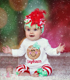 Baby Girl Christmas Outfit - Gingerbread Smiles - Darling Little Bow Shop