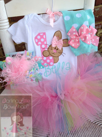 First Birthday Tutu Outfit, Some Bunny Is One bodysuit, leg warmers, tutu, bow in aqua, pink, mint - Darling Little Bow Shop
