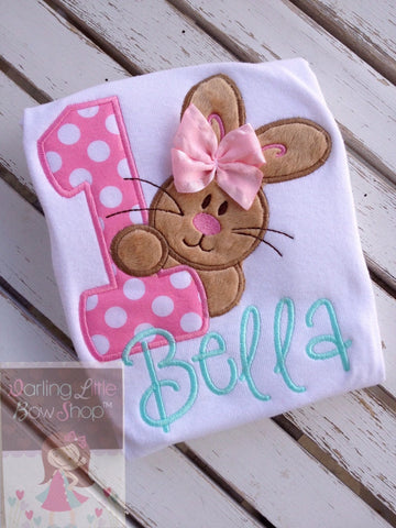 First Birthday Bunny Bodysuit or Shirt, Some Bunny is One in pastel colors - Darling Little Bow Shop