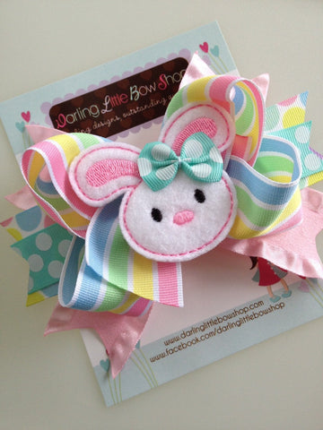 Easter Bunny Bow - Easter Bow - Hippity Hop - Darling Little Bow Shop