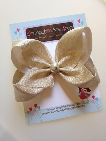 "Gold Bow -- Beautiful shimmering gold hairbow -- 4"" or 5"" bow - optional headband - Darling Little Bow Shop"