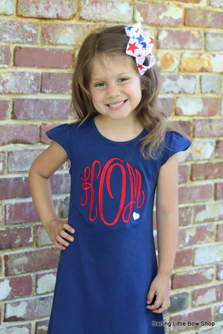 4th of July dress for girls, Navy dress with red monogram - Darling Little Bow Shop