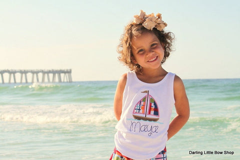 Sailboat shirt, tank top or bodysuit for girls -- Sail Away -- navy and pink madras summer plaid sail boat - Darling Little Bow Shop