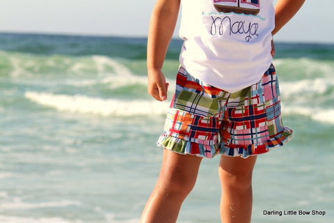 Girls madras plaid ruffle shorts - Darling Little Bow Shop