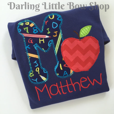 Back to School Shirt for boys -- Apple of My Eye - Darling Little Bow Shop