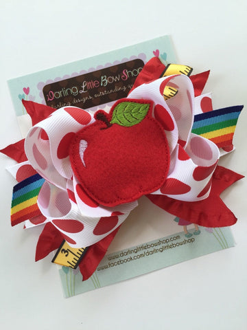 Apple Bow - Sweet to the Core - 5 to 6 inch school hairbow - Darling Little Bow Shop