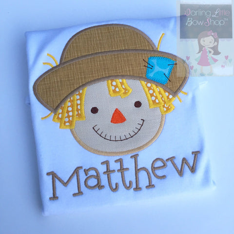 Scarecrow shirt or bodysuit for boys and baby boys - Autumn Friends - - Darling Little Bow Shop