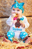 Baby Girl Thanksgiving Outfit, Color Pop Turkey, bodysuit, bow/headband and leg warmers - Darling Little Bow Shop