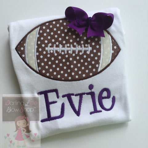 Girls Football Bodysuit or shirt  -- Football Princess -- Personalized football bodysuit with CHOICE of Color and name - Darling Little Bow Shop