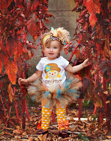 Girls Scarecrow Outfit, Baby Girl Halloween Outfit - Autumn Friend - bodysuit, tutu, leg warmers and bow - Darling Little Bow Shop