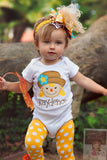 Over The Top bow in gold, mustard, orange and turquoise -- Autumn Friend - Darling Little Bow Shop
