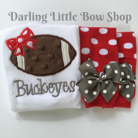 Baby Girl Football oufit -- Football Princess -- football bodysuit and leg warmers - CHOOSE colors to match YOUR TEAM - Darling Little Bow Shop