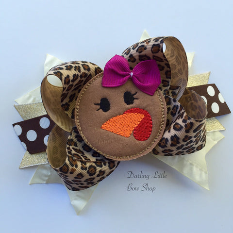 Turkey Bow, leopard print Thanksgiving Bow - Darling Little Bow Shop