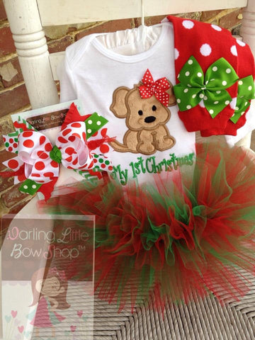 Baby Girl Christmas Tutu Outfit, A Puppy For Christmas - Darling Little Bow Shop