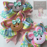 Easter Bunny Bow -- Easter Bow -- Hippity Hop -- Large bow with bunny center -- pastel yellow, white, pink and aqua - Darling Little Bow Shop