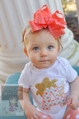 "6"" Double Layer ruffle bow, optional headband in many color options - Darling Little Bow Shop"