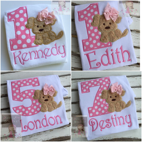 Girls Puppy Birthday Bodysuit or Shirt, A Puppy PAWty, ANY AGE - Darling Little Bow Shop