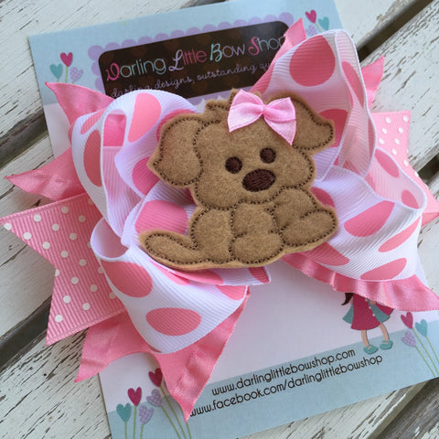 Puppy Bow, Pink Puppy Hairbow - Darling Little Bow Shop