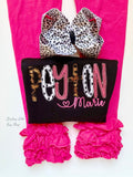 Name bodysuit or ruffle shirt for girls in black, leopard, hot pink - Darling Little Bow Shop