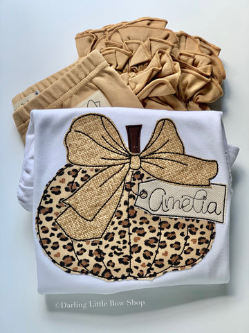 Leopard Pumpkin shirt or bodysuit for girls - Darling Little Bow Shop