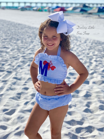 Girls Crab Swimsuit for Summer - Choose one or 2-piece - Darling Little Bow Shop