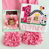 Horse Cowgirl pink hairbow choose single bow or pigtail set - Darling Little Bow Shop