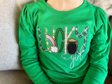 Lucky Girl Green Ruffle shirt for St. Patrick's Day - Darling Little Bow Shop