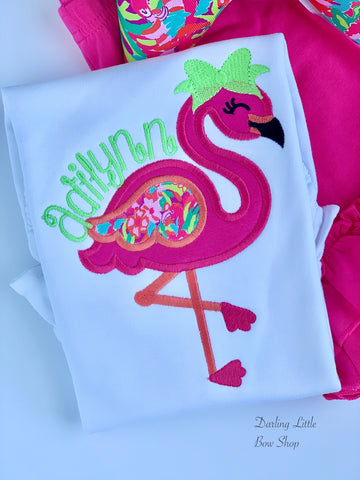 Lilly Flamingo shirt, ruffle shirt, tank or bodysuit - Hot Pink and Coral - Darling Little Bow Shop