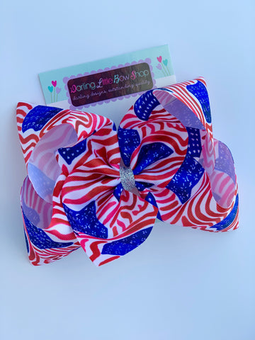 "American Flag bow, Lilly Pulitzer 4th of July bow in red, white and blue 4-5"" or 7"" - Darling Little Bow Shop"