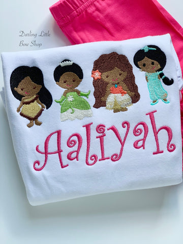 Princess Tiana, Pocahontas, Moana, Jasmine shirt, ruffle shirt, tank or bodysuit - Darling Little Bow Shop