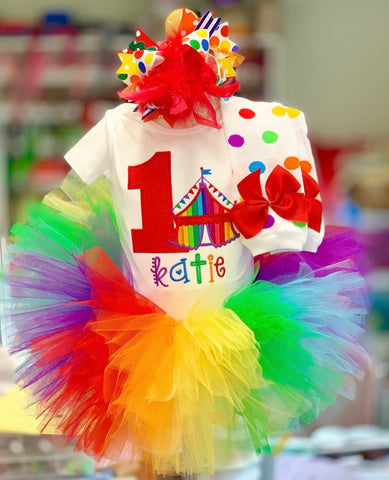 Circus Birthday Tutu Outfit, Carnival Birthday Outfit Any Age - Darling Little Bow Shop