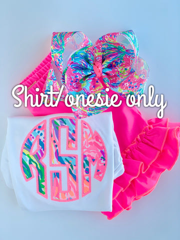 Lilly Monogram Girls shirt, ruffle shirt, tank or bodysuit - Fan Sea Pants neon pink, lime, blues - Darling Little Bow Shop