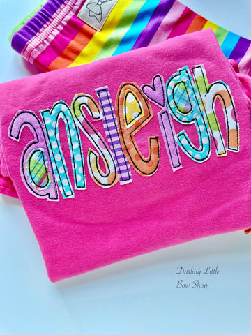 Rainbow Name bright pink ruffle shirt or tank - Darling Little Bow Shop