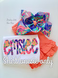 Exotic Garden shirt, name spelled out in Lilly Pulitzer print - Darling Little Bow Shop