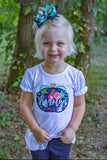 Navy Floral Pumpkin shirt or bodysuit for girls - Darling Little Bow Shop
