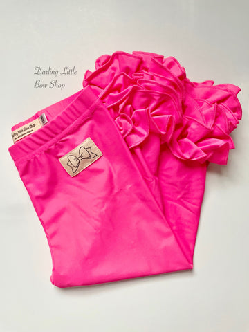 Neon Pink Ruffle Leggings - Neon Pink Icings - gorgeous knit ruffle leggings - size 6m to 10 - Darling Little Bow Shop
